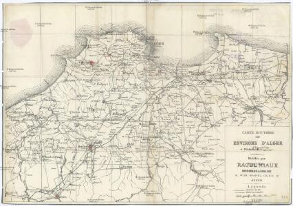 Carte routiere des environs d'Alger