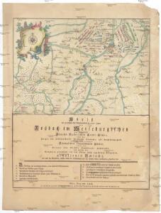 Abriß der am fünften des Wintermondes im 1757sten Jahre bey Roßbach im Merseburgischen zwischen der roemisch-kaiserlichen Reichs-Armee, unter des Prinzen von Hildburgshausen Durchlaucht Commando, als Reichsfeldmarschall, nebst der damit vereinigten koeniglichen franzoesischen Armee, unter des Prinzen von Soubise Durchlaucht Commando, und zwischen dem koeniglichen preußischen von dem Koenige selbst angefuehrten Kriegsheere, gehaltenen Schlacht, wie auch der Gegenden, welche durch die Scharmuetzel und den kleinen Krieg merkwuerdig geworden sind