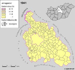 A szerbek aránya és száma Pest megyében 1941-ben