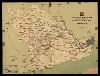 Mapa de la 1a demarcació de Barcelona. 31 de juliol 1934 / Generalitat de Catalunya. Obres Públiques