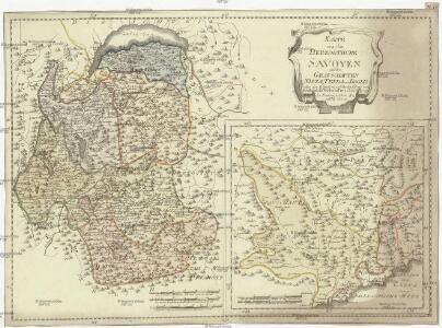 Karte von dem Herzogthume Savoyen und den Grafschaften Nizza, Tenda und Borgio, oder den Ländern welche der König von Sardinien in dem Frieden zu Paris den 15. May 1796 der französischen Republik abtrat