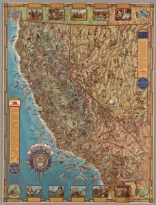 California and Nevada : Pano-view map
