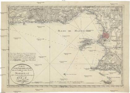 Carte d'une partie de la cote de la rade et des îles de Marseille rectifée d'apres les observations astronomiques et géodesiques de M.I.B. d Z