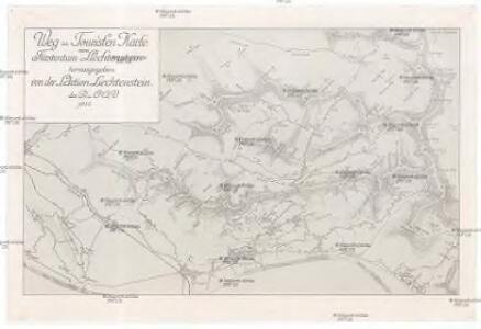 Weg- u. Touristen Karte vom Fürstentum Liechtenstein