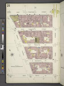 Manhattan, V. 2, Plate No. 25 [Map bounded by E. 14th St., 3rd Ave., E. 10th St., 4th Ave.]