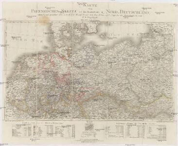 Karte vom Preussischen Staate mit den Bundesstaaten in Nord-Deutschland