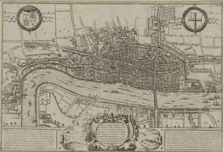 Plan of London, West.r and Southwark, w.th y.e Riv.r Thames, as they were survey.d and publisht by Authority toward y.e latter end of y.e reign of Queen Elizaabeth, or about y.e year of our Lord 1600.
