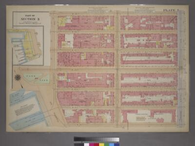 Plate 7, Part of Section 3: [Bounded by W. 26th Street, Ninth Avenue (Chelsea Square), W. 20th Street, 13th Street, W. 23rd Street and Eleventh Avenue.]