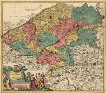 Novissima Flandriae Comitatus Tabula cum Omnibus Praefecturis, etc. et suis Adjacentibus Provinciis