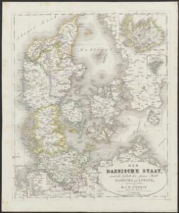 [Neuer Atlas der ganzen Erde nach den neuesten Bestimmungen ... : XIII.] Der Daenische Staat und die Gebiete der freien Städte Hamburg und Lübeck