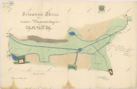 Situační plán nových vodních nádrží v Koutě na Starém potoce