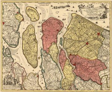 Delflandia, Schielandia et circumjacentes Insulae ut Voorna, Overflackea, Goerea, Yselmonda et aliae, ex conatibus Geographicis