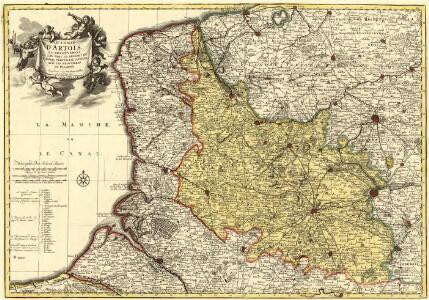 Le Comté d'Artois, et des Environs, ou l'on voit le Ressort du Conseil Provincial d'Artois avec les Frontieres de Picardie