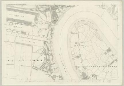London (First Editions c1850s) XLVII (includes: Borough Of Greenwich; Poplar Borough) - 25 Inch Map