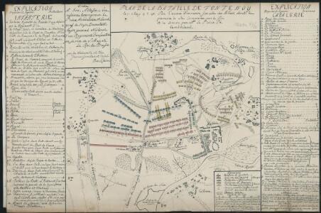 Plan De La Bataille De Fontenoy le 11. May 1745 Par l'armée Francoise sur celle des Allies, dont la premiere à été Comandée par le Roi et la derniere par M. Le Prince de Cumberland