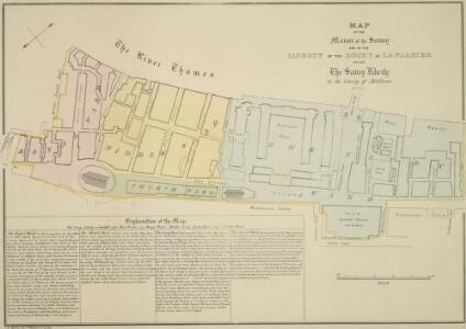 MAP OF THE Manor of the Savoy AND OF THE LIBERTY OF THE DUCHY OF LANCASTER CALLED The Savoy Liberty, In the County of Middlesex. 1830