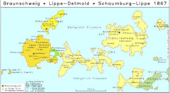 Braunschweig, Lippe-Detmold, Schaumburg-Lippe 1867