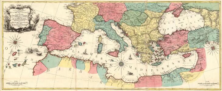 Carte Geographique representant la Mer Mediterranée ou la seconde Partie du Theatre de la Guerre entre les Russes et les Turcs