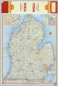 Shell Highway Map of Michigan (southern portion).