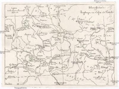 Übersichtskarte der Umgebungen von Sofia und Küstendil