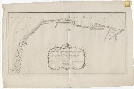 Kaart van den tegenwoordigen zee-dyk liggende voor de landen van Huisduinen en de Helder, strekkende van het Nieuwe-Diep tot aan Kykduin, mitsgaders de diepte voor dezelve gepeild, van twee tot twee roeden naar zee, met hoog-water in Amsterdamsche voeten