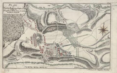 Plan der Bataille bey Bergen ohnweit Frankfurt am Mayn, zwischen den Französischen u. Alliirten Armeen. d. 13. Ap. A. 1759