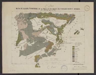 Mapa de España y Portugal, en la epoca de los mares del terciario medio y superior