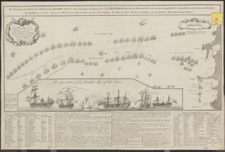 The situation of the English, French and Spanish fleets, when they begun the engagements in the Mediterranean, on the eleventh of Feby. 1743-4 [= 1744]: Cape Sicie bearing then N.N.E. & from the center of the fleet about ten leagues ...
