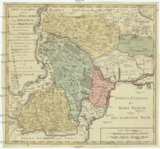 Tabula geographica continens despotatus Wallachiae atque Moldaviae, provinciam Bessarabiae sub clientela Turcica, itemque provinciam polonicam Podoliae