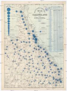 Map of Queensland showing annual rainfall to end of 1899
