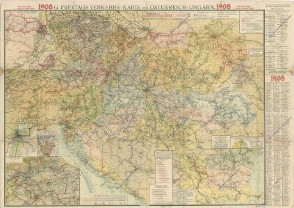 G Freytag S Verkehrs Karte Von Osterreich Ungarn