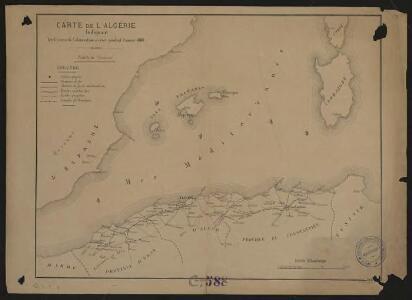 Carte de l'Algérie indiquant les centres de colonisation à créer pendant l'année 1880