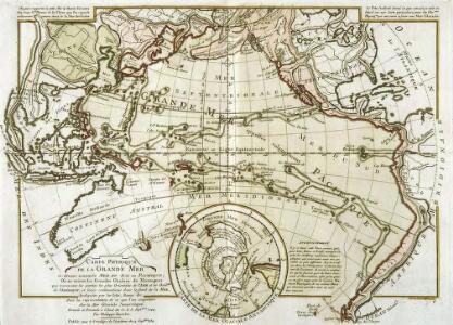 Carte physique de la Grande Mer ci-devant nommée mer du Sud ou Pacifique