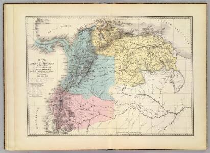 Mapa de Venezuela, Cundinamarca y Ecuador.