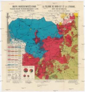 Mapa narodowościowa polskich kresów północno-wschodnich i Litwy