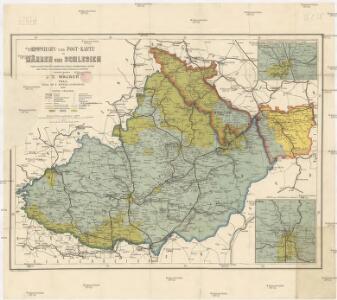 Eisenbahn- und Post-Karte von Mähren und Schlesien