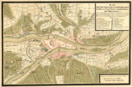 Plan der Hochfürstlichen und Bischofflichen Residentz Stadt Passau und der Vöstung des Oberhauses