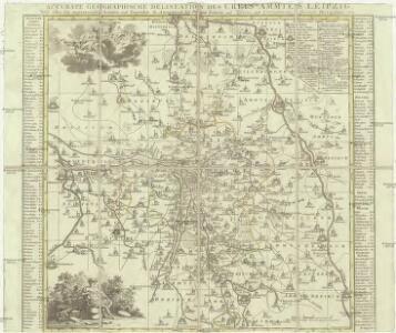 Accurate geographische delineatio des Creis Ammtes Leipzig, nebst allen dar angrentzenden Aemtern und Gegenden