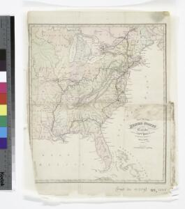 Map of the United States and Canada : shewing Captn. Hall's route through those countries in 1827 & 1828 / engraved on steel by W.H. Lizars.