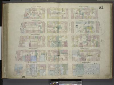 [Plate 22: Map bounded by Thompson Street, Spring     Street, Broadway, Canal Street; Including Laurens Street, Wooster Street, Greene Street, Mercer Street, Grand Street, Broome Street]