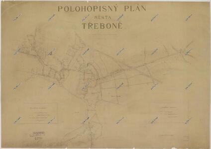 Polohopisný plán města Třeboně (s vyznačením vodovodního řádu) 1
