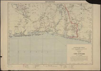 Carte de la Côte d'Ivoire dressée par A. Meunier. Bingerville