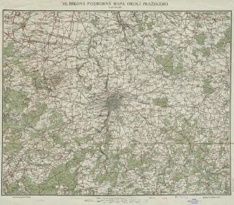 Vilímkova podrobná mapa okolí pražského