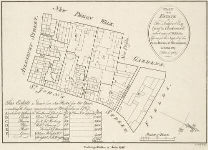 PLAN of the ESTATE of Thos Seckford, Esq. Lying in Clerkenwell, in the County of Middlesex; Given for the Support of his ALMS -HOUSES AT WOODBRIDGE, in Suffolk. 1587. (Taken in 1764)