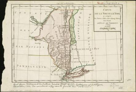 Carte de la Nouvelle York, y-compris les terres cédées du N. Hamp-Shire, sous le nom d'etat de Vermont
