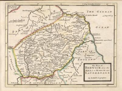 The Shire of Berwick alias the Mers or March and Lauderdale / by H. Moll.