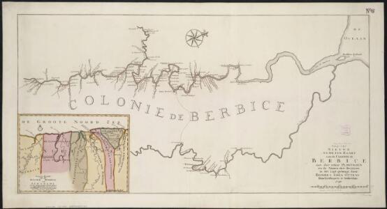 Nieuwe gameten Kaart van de Colonie de Berbice met der zelver Plantagien en de Namen der Bezitters