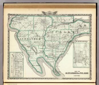 Map of Alexander & Pulaski counties, Murphysboro and Mound City.
