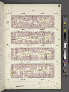 Manhattan, V. 2, Plate No. 14 [Map bounded by 6th St., Avenue D, 2nd St., Avenue C]