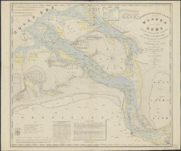 Hydrographische kaart der monden van de Eems met de Uithuizer en Groninger Wadden tot Hornhuizen